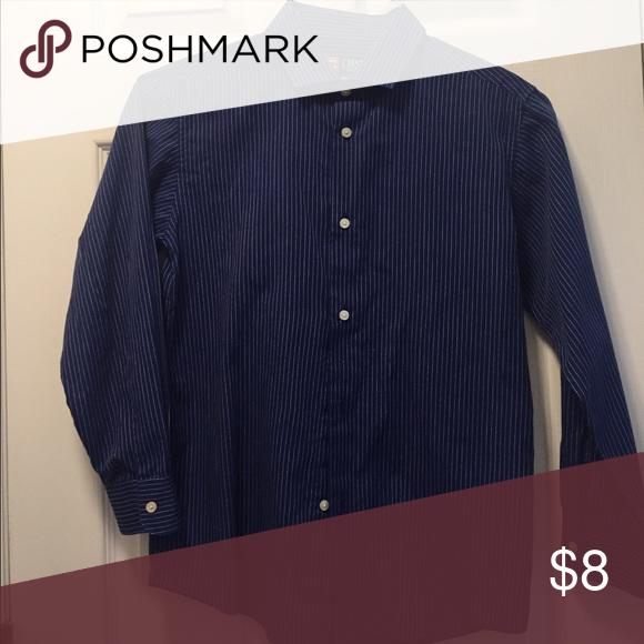 75dbb82cf4 Chaps blue dress shirt Chap s dark blue long sleeve dress shirt with white  stripes. Boy s size 16. Chaps Shirts   Tops Button Down Shirts