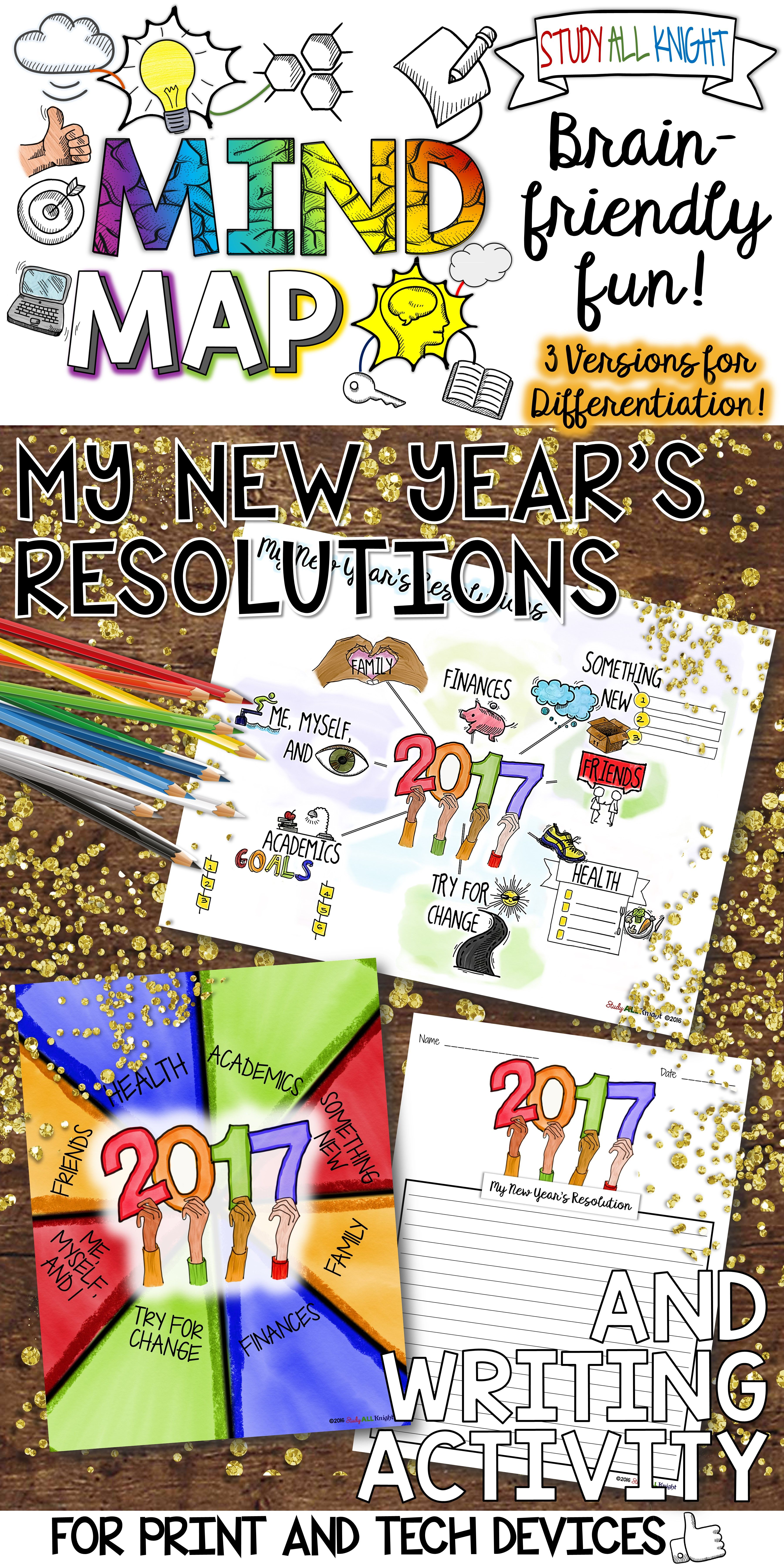 New Years Resolution Activities Writing Goals Mind