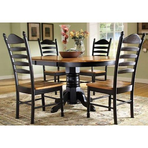 John Thomas Madison Park 5 Piece Oval Pedestal Table With Butterfly Leaf U0026  Ladderback Chair