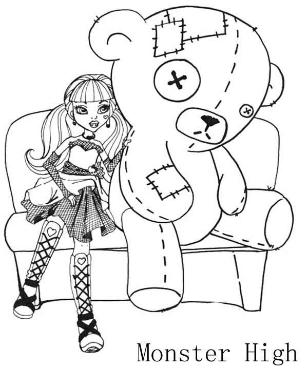 Draculaura And Big Doll Coloring Page