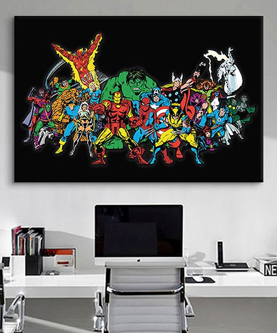 Marvel Comics Character Lineup Gallery-Wrapped Canvas | An awesome accent for a home office, or marvelous gift for a comics nut, this striking piece shows a phalanx of favorites ready for action. Archival inks, artist-grade canvas and anti-shrink wood, mean it's built to last.