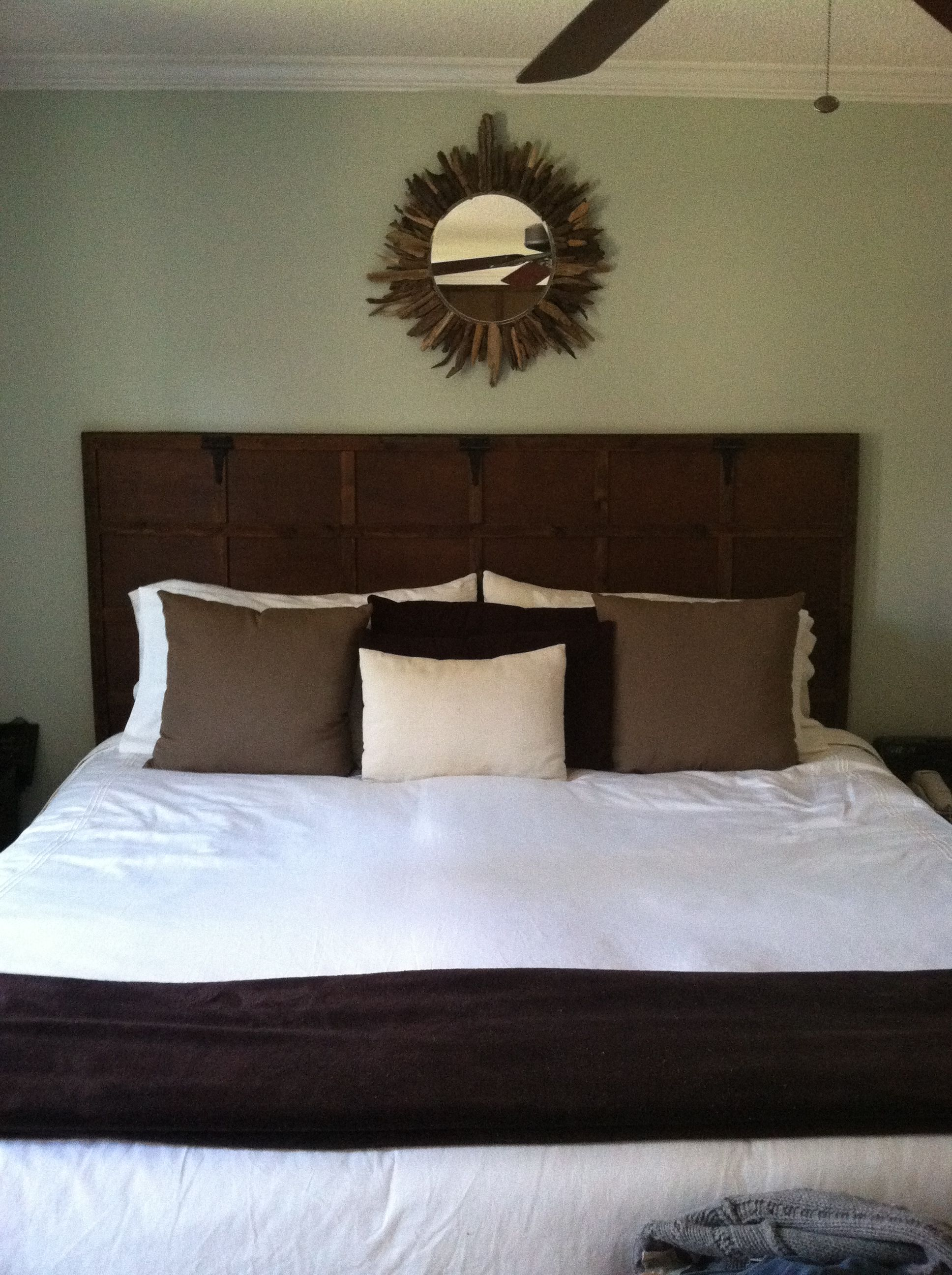 Headboard made from a hollow core door and made to look