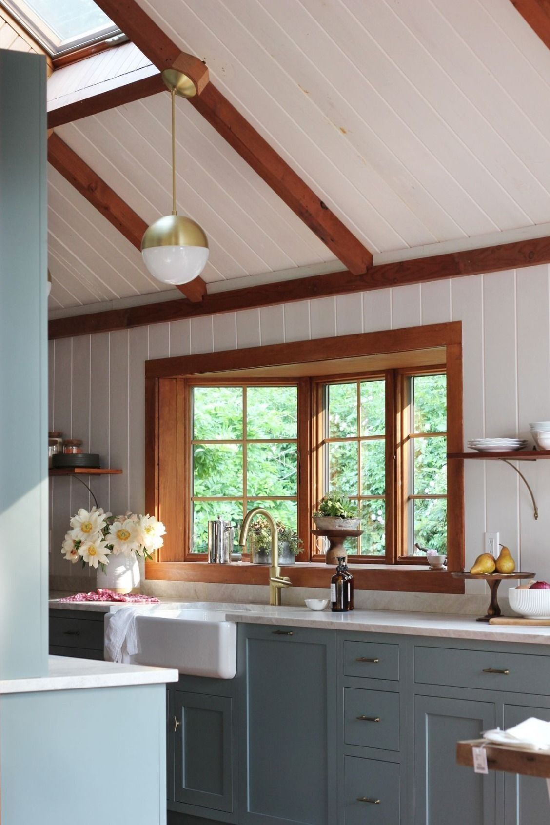 Beautiful French Blue Painted Kitchen Cabinets Shiplap Walls And Ceiling With Warm Walnut Stained Wood Trim Photo By Heidi S Bridge