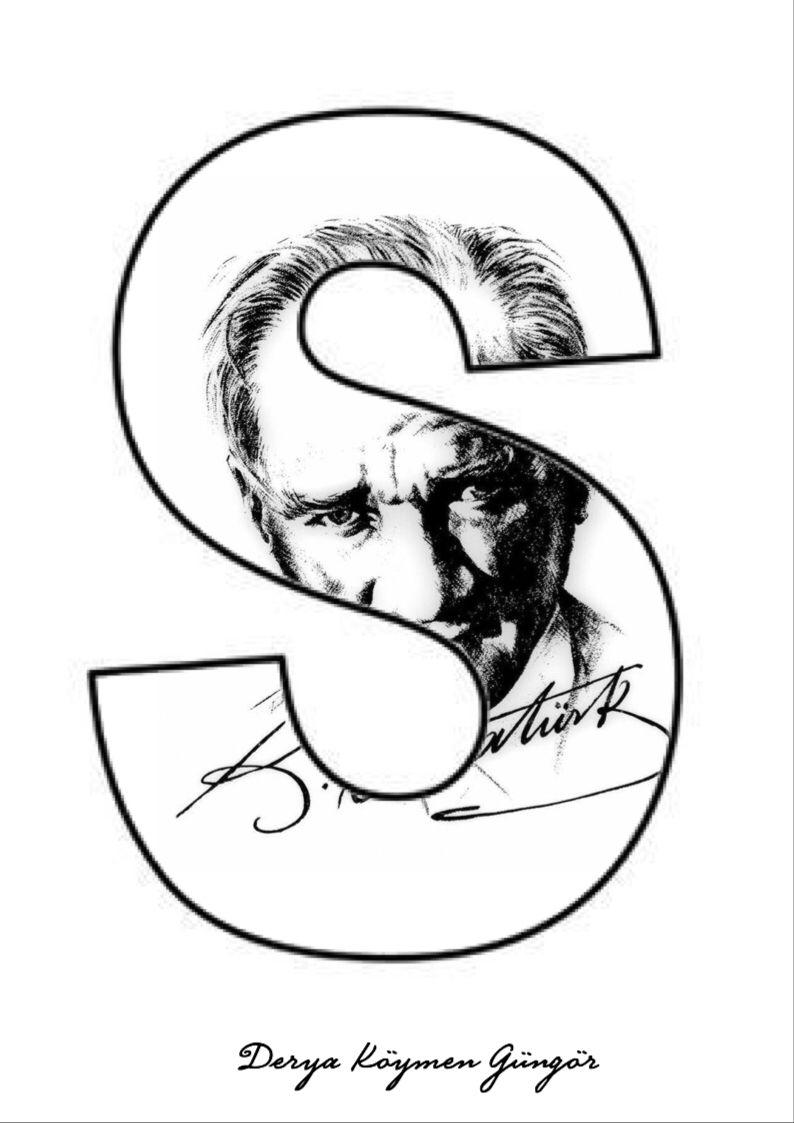 Ataturk Afis Harfler Alfabe Sablonlari Harfler