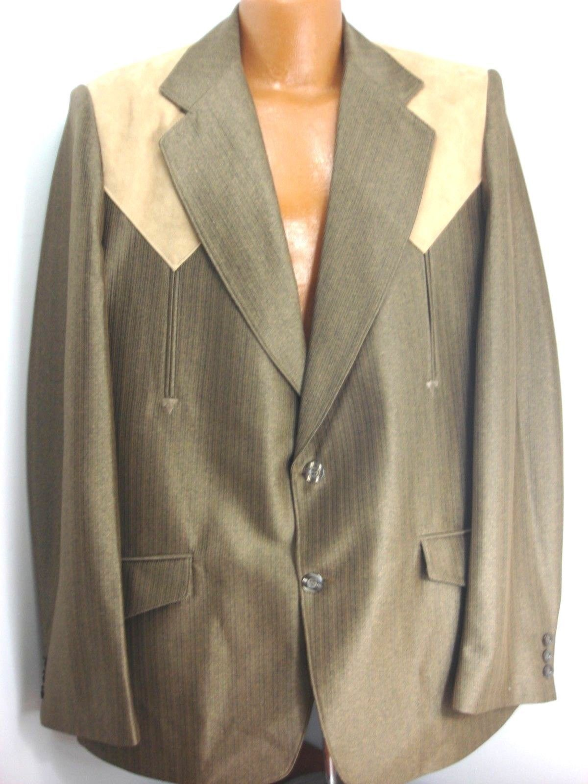 d5e7b48c2bf Montania Men s Size 46R Western Style Sport Coat Brown and Tan Polyester
