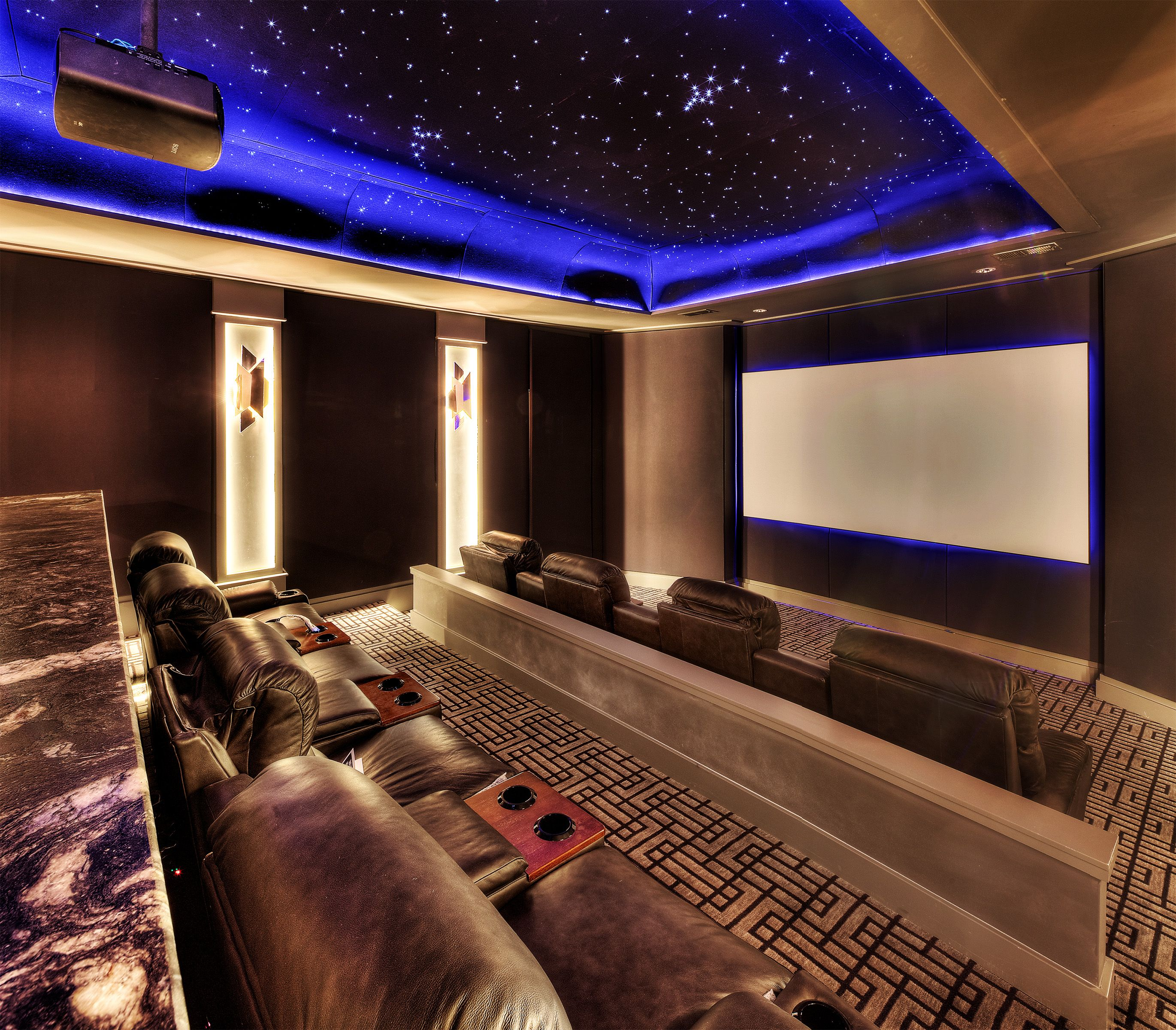 Custom Home Theater Rooms: Home Theater With Motion Stars On Ceiling