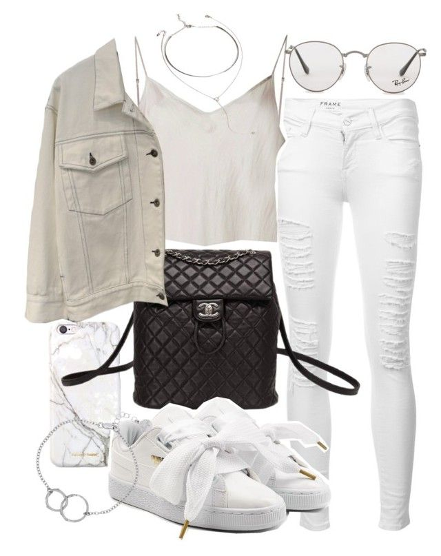 """Untitled #21189"" by florencia95 ❤ liked on Polyvore featuring russell+hazel, Frame, Beautiful People, Chanel, Ray-Ban, Forever 21, Puma and Chupi"