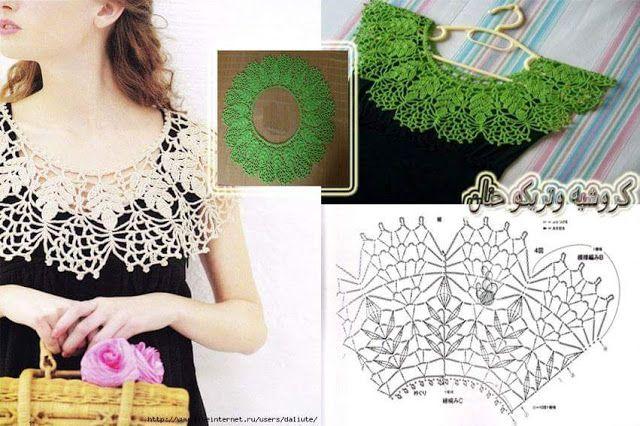Diseños cuellos a crochet | Patrones crochet | Crochet Shawl ...