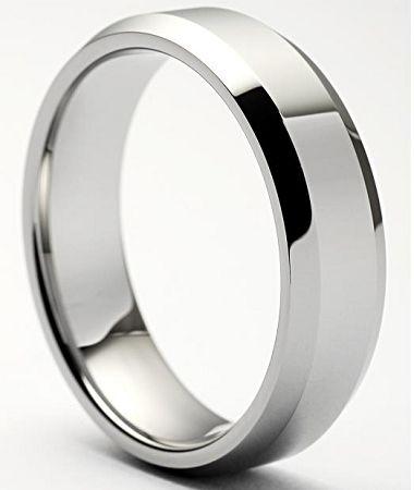 Beveled Tungsten Ring Polished 8mm | Men Beveled Tungsten Ring 8mm from Tungsten Fashions  $49.99