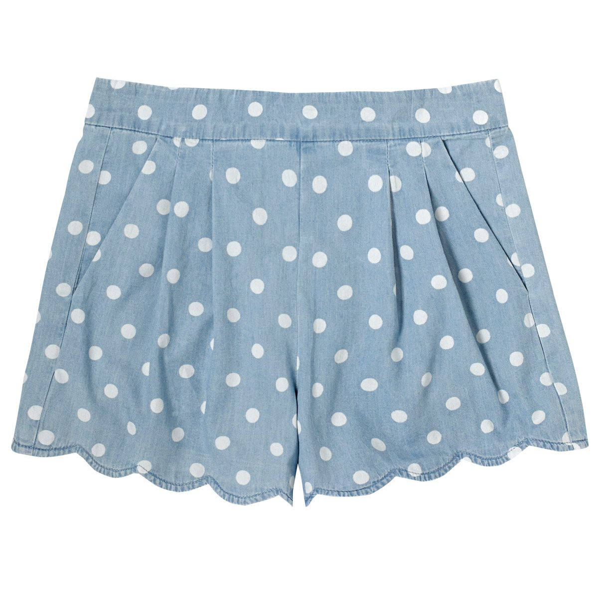 Button Spot Scallop Hem Chambray Shorts | Cath Kidston |