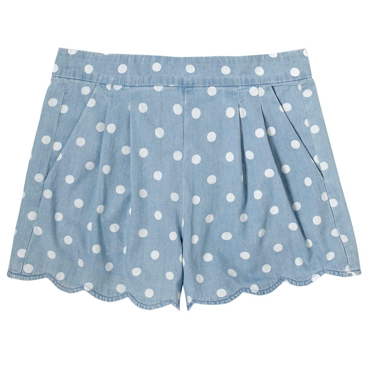 Button Spot Scallop Hem Chambray Shorts | Cath Kidston |