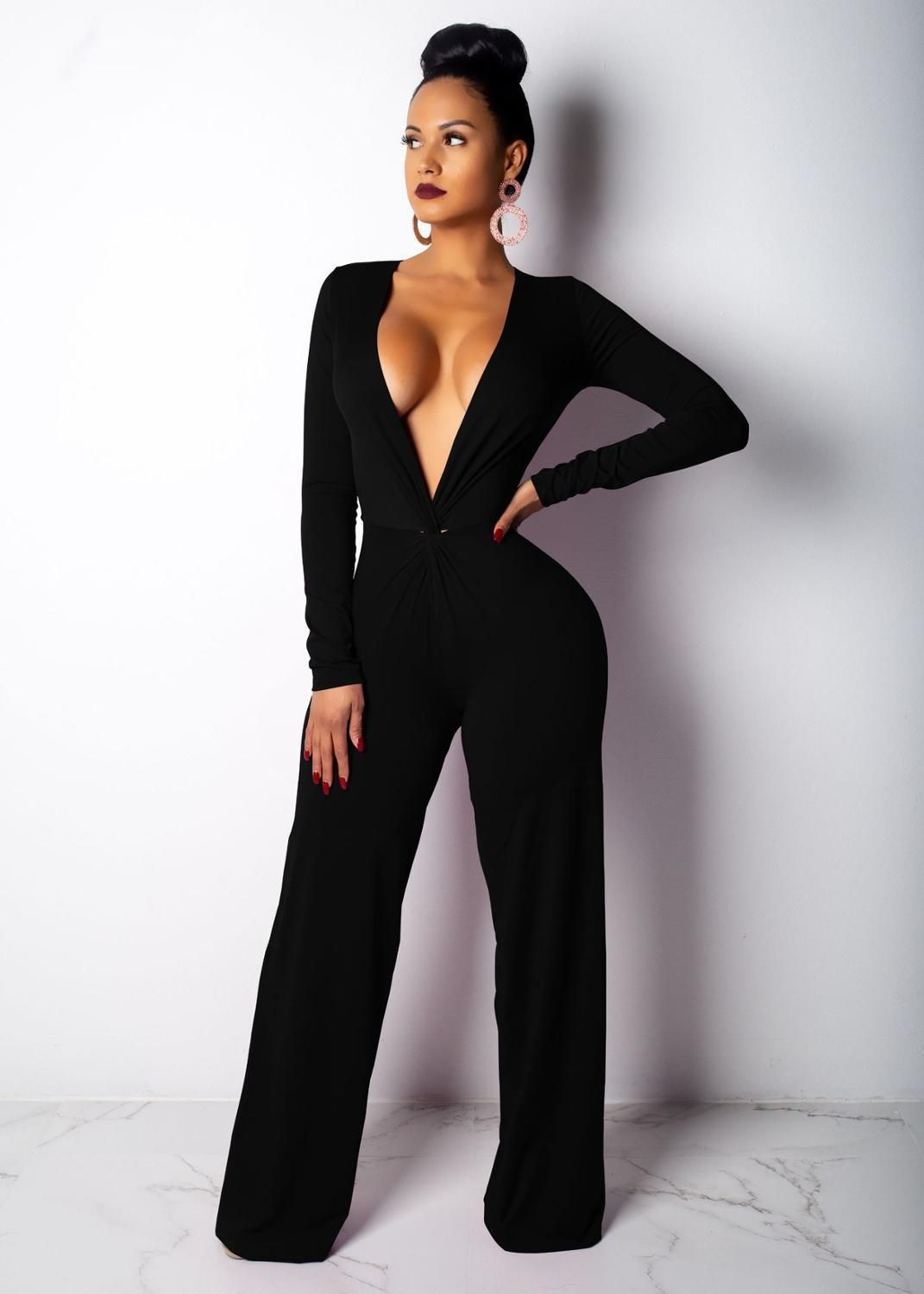 e9c0d51f2b35 Fashion Deep V-Neck Wide Leg Jumpsuit in 2019