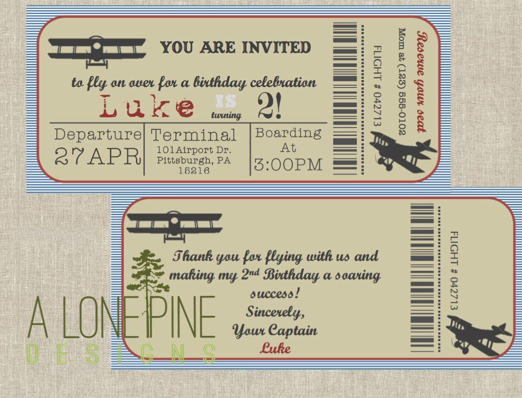 Airplane Birthday Invitation 9x4 Package Digital, Aviation Birthday ...