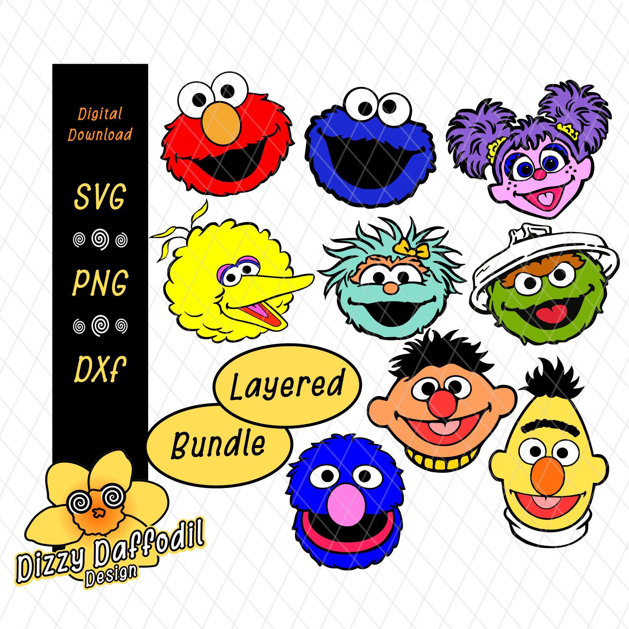 Sesame Street Face Head Bundle Svg Dxf Sesame Street Layered Design Digital Download Elmo Cookie Sesame Street Party Printables Free Sesame Street Birthday