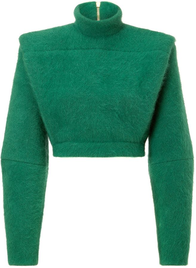 e05cbe49b2f Balmain Wool Blend Structural Pullover in Emerald Green on shopstyle ...