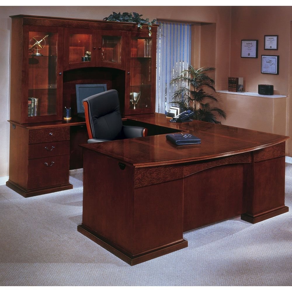Bow Front U Shape Desk With Left Return And Hutch