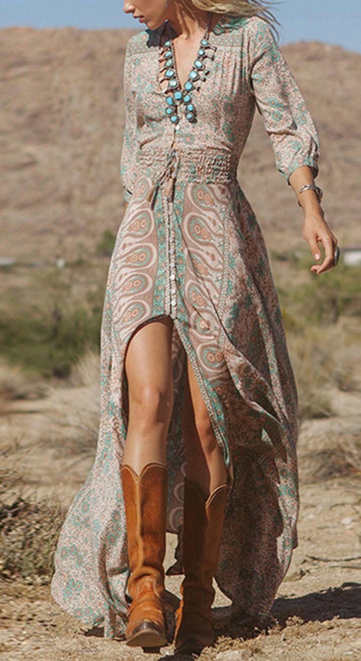 Boho deep v neck sleeve floral print split dress your new love
