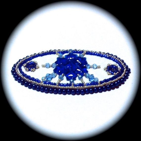 OOAK Beautiful Blues  Barrette with beaded hair stick by Barbswish