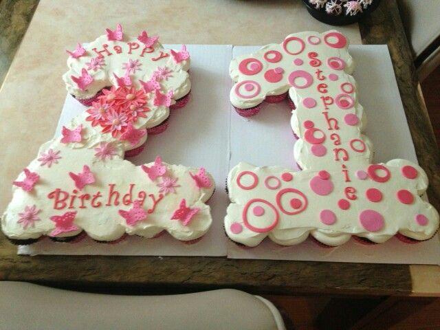 Prime 21St Birthday Pull Apart Cupcake Cake Red Velvet With Red Velvet Funny Birthday Cards Online Bapapcheapnameinfo