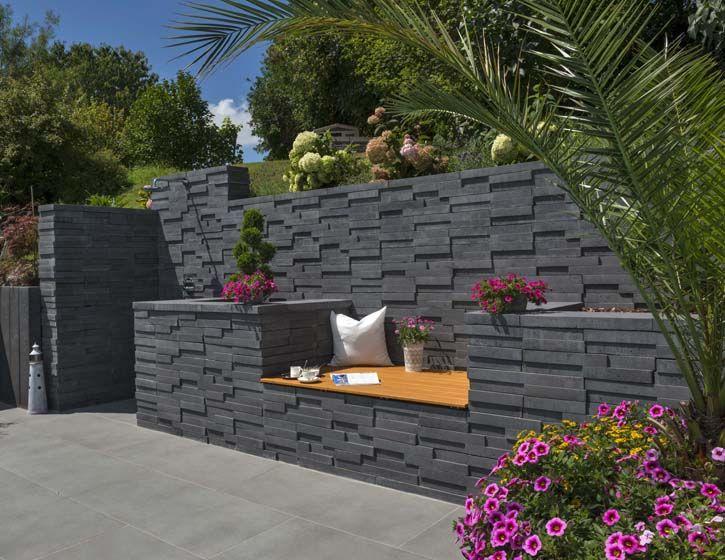 Basalo Schichtmauer In Basaltgrau Gartendesign Ideen Garten Stufen Moderner Garten