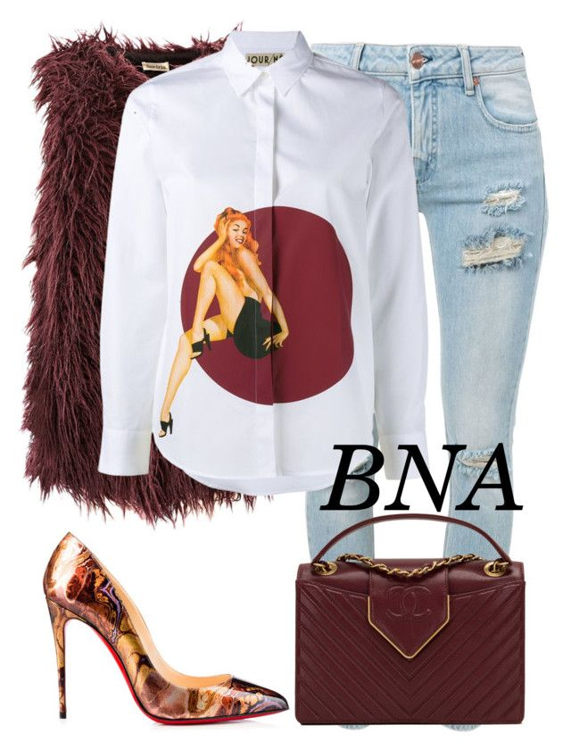"""BNA"" by deborahsauveur ❤ liked on Polyvore featuring Iris, Christian Louboutin, Off-White, JOUR/NÉ and Chanel"