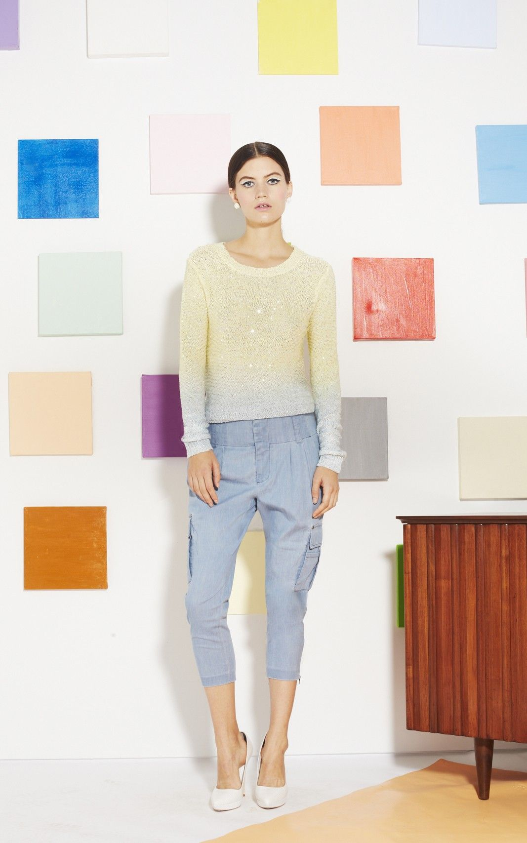 ANDERS CARGO PANTS - CHAMBRAY Alice and Olivia SS 2013