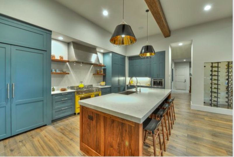 Sw 6229 Tempe Star Paint The Color Of Our Future Island White Kitchen Design Colorful Kitchen Appliances Industrial Style Kitchen
