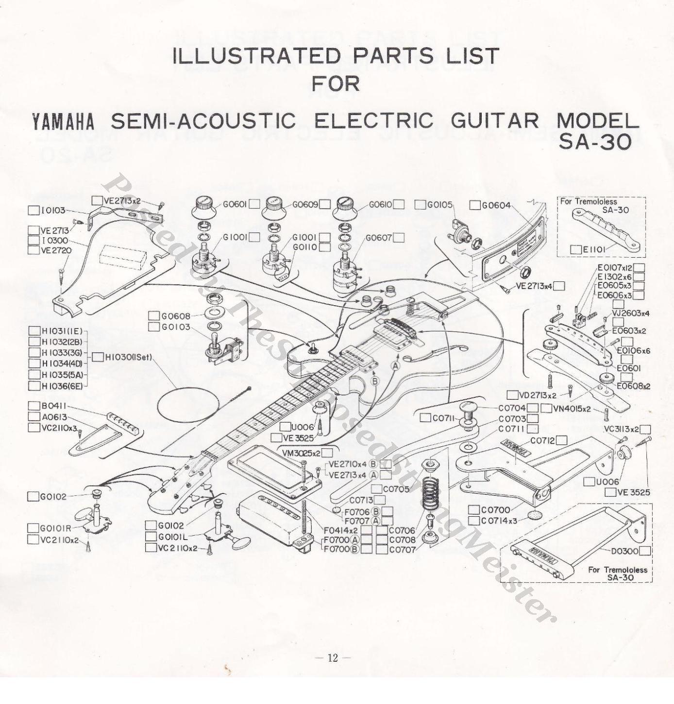 sa 30 yamaha guitar booklet page 12 illustrated parts list 1388 1451 yamaha catalog. Black Bedroom Furniture Sets. Home Design Ideas