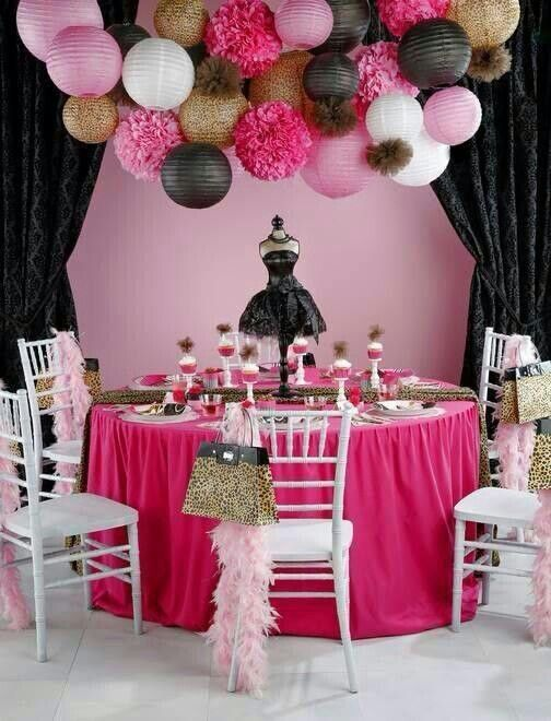 Mint Green Hot Pink Black White And Gold Party Decor