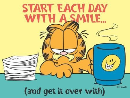 Start Each Day With A Smile Garfield Quotes Garfield And Odie Garfield Comics