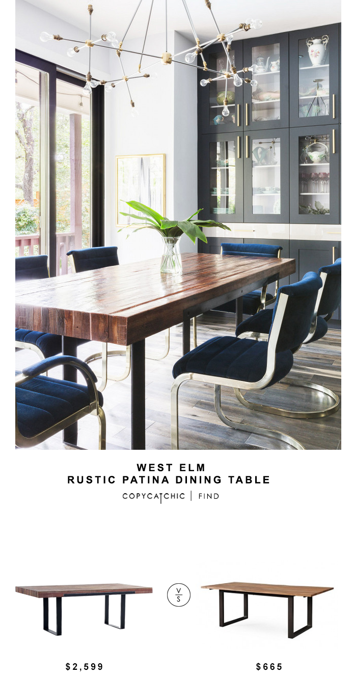 West elm rustic patina dining table for 2599 vs tov carter rustic elm table for 665