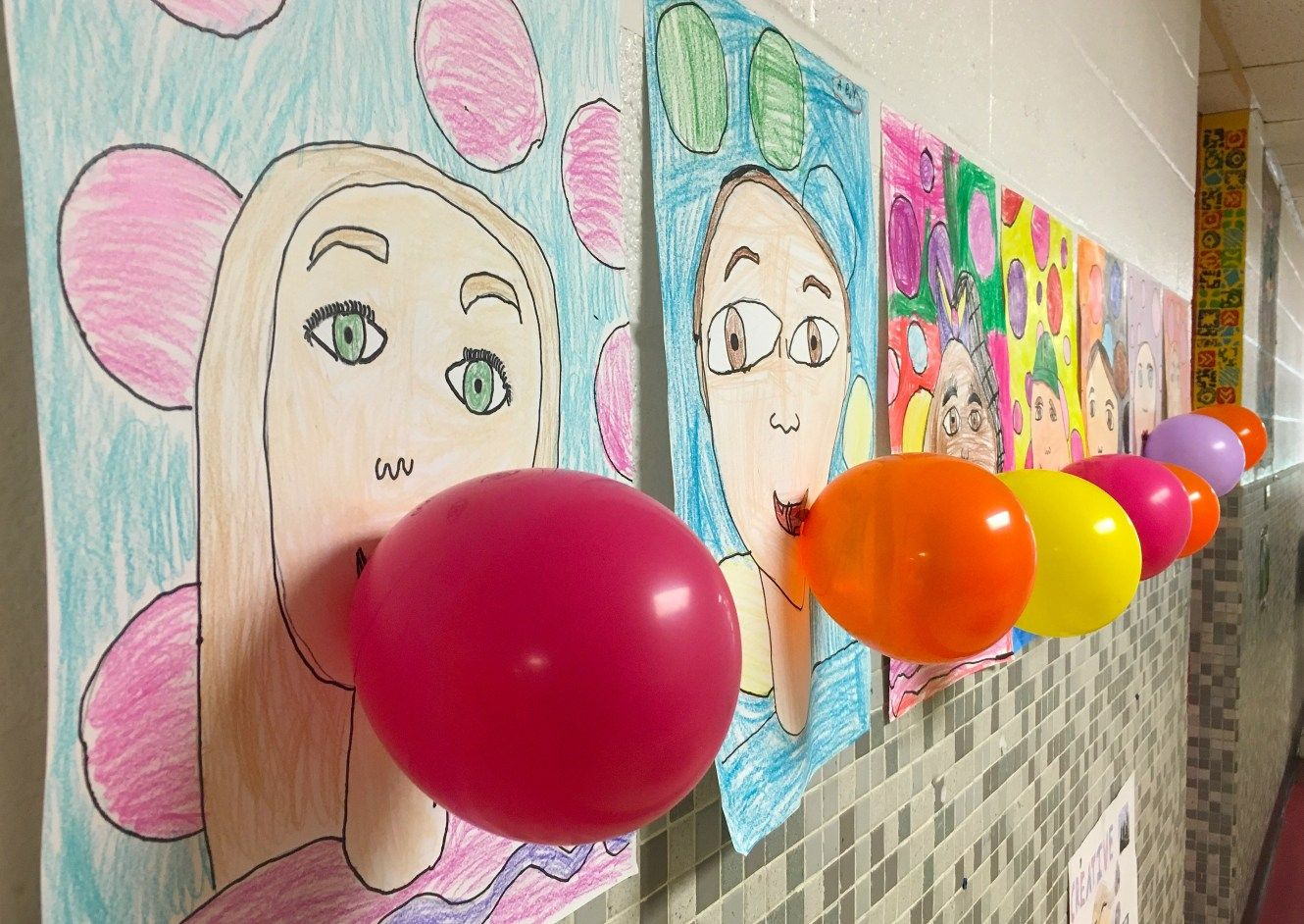Bubble Blowing Self Portraits 1st Grade In
