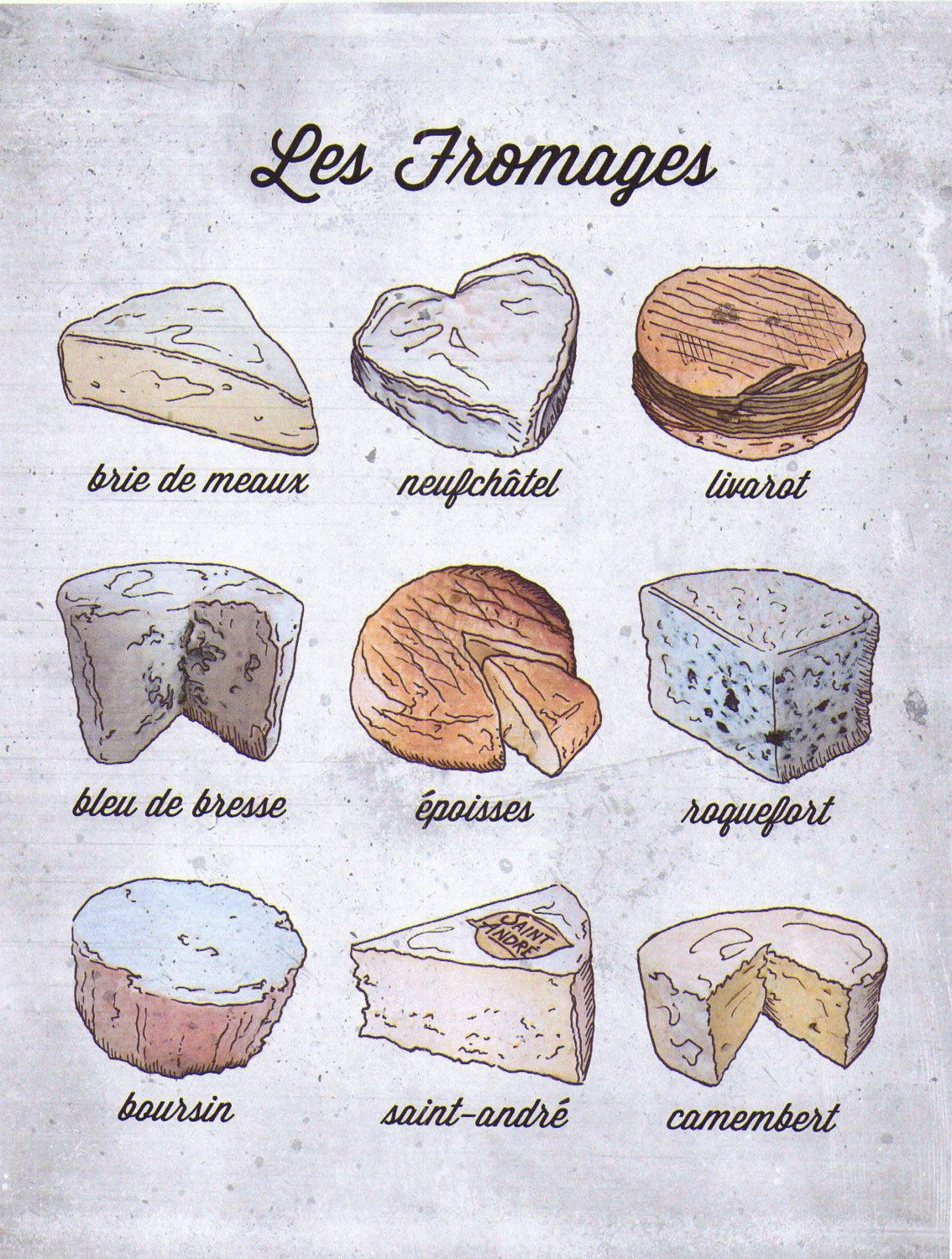 french language food poster french cheese les fromages via etsy type pinterest. Black Bedroom Furniture Sets. Home Design Ideas