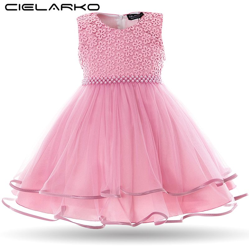 a74402e4b4e68 Cielarko Baby Girls Dress Pearls Mesh Infant Party Dresses Vintage ...