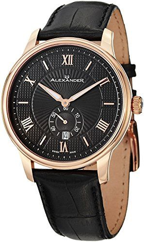 Alexander Statesman Regalia Men's Black Leather Strap Rose Gold Plated Swiss Made Watch A102-04