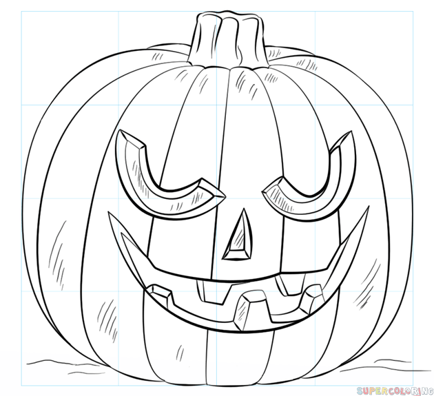How to draw a Jack-o\'-lantern step by step. Drawing tutorials for ...