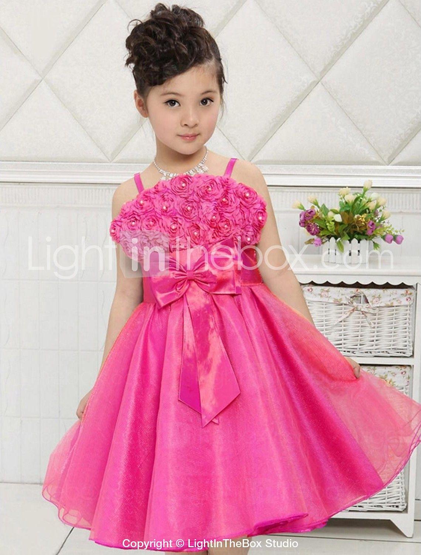 Flower girl dress kneelength satintulle aline sleeveless dress