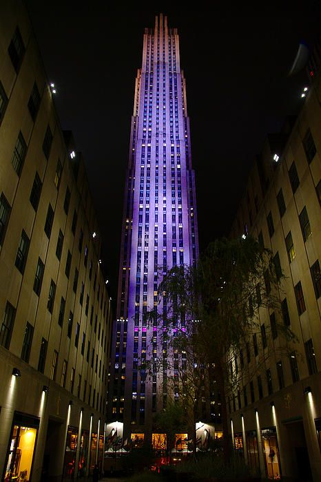 This is the 30 Rock building at night taken from the Plaza area.