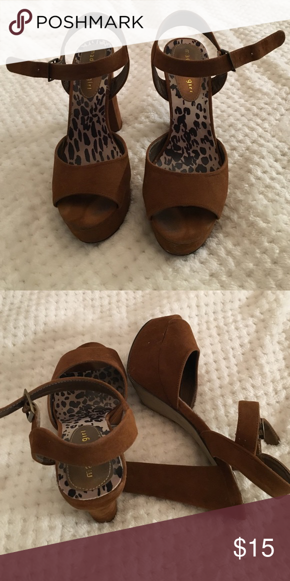 Madden Girl platform sandals Tan Madden Girl platform heel sandals. NO TRADES! Madden Girl Shoes Heels