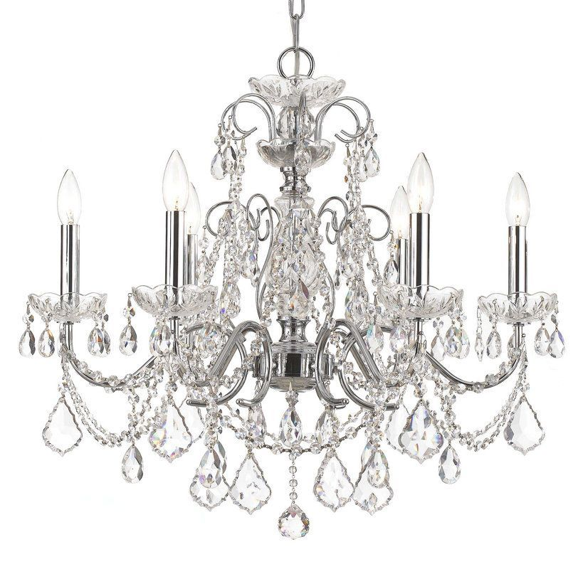 """Crystorama Lighting Group 3226-CL-MWP Imperial 6 Light 26"""" Wide Steel Candle Sty Polished Chrome Indoor Lighting Chandeliers"""