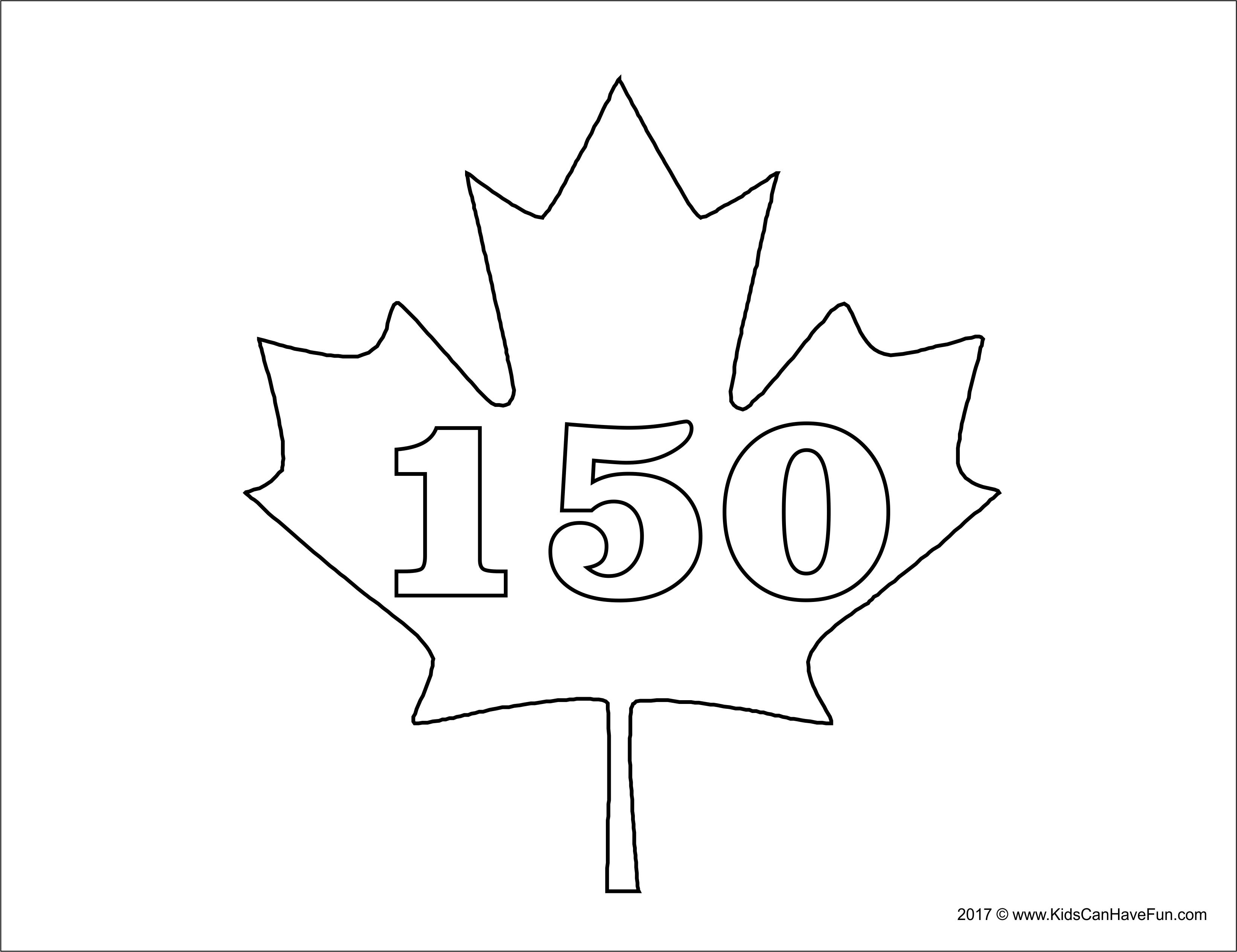 Canada 150 Maple Leaf Coloring Page http://www.kidscanhavefun.com ...
