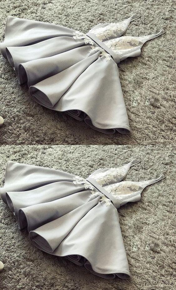 Simple grey appliques short homecoming dresses, spaghetti straps short prom dresses, fashion cheap short homecoming dresses