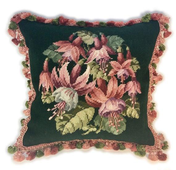 Pink Fuchsia Flower Needlepoint Pillow In 2020 Needlepoint Pillows Fuchsia Flower Pillows
