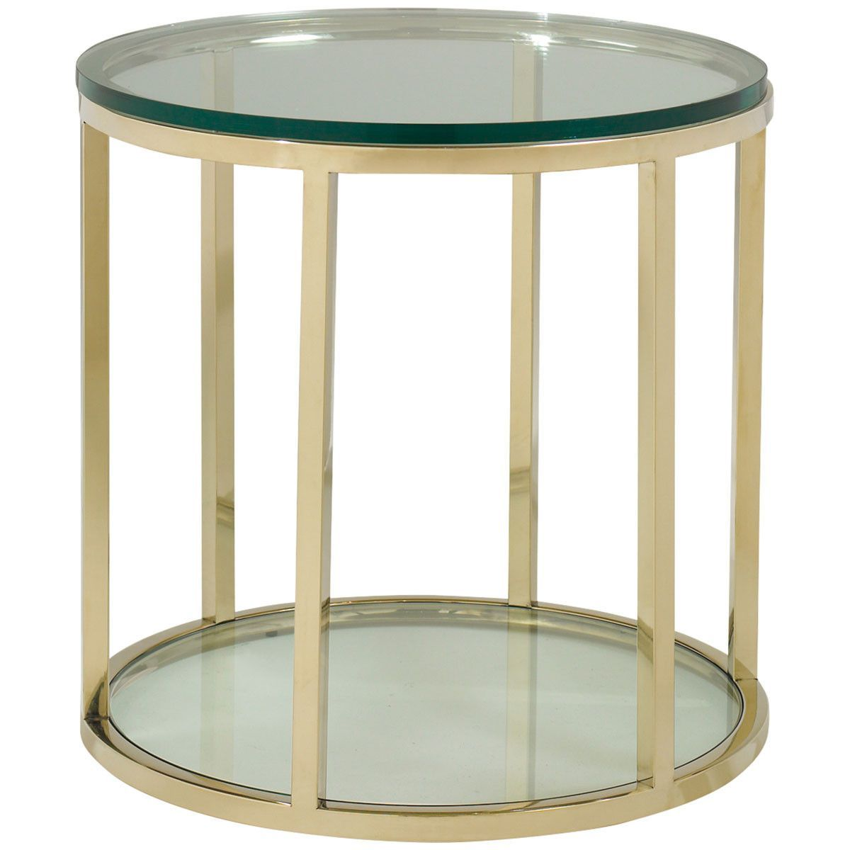 Caracole 26 Inch Round Gold Bullion Side Table