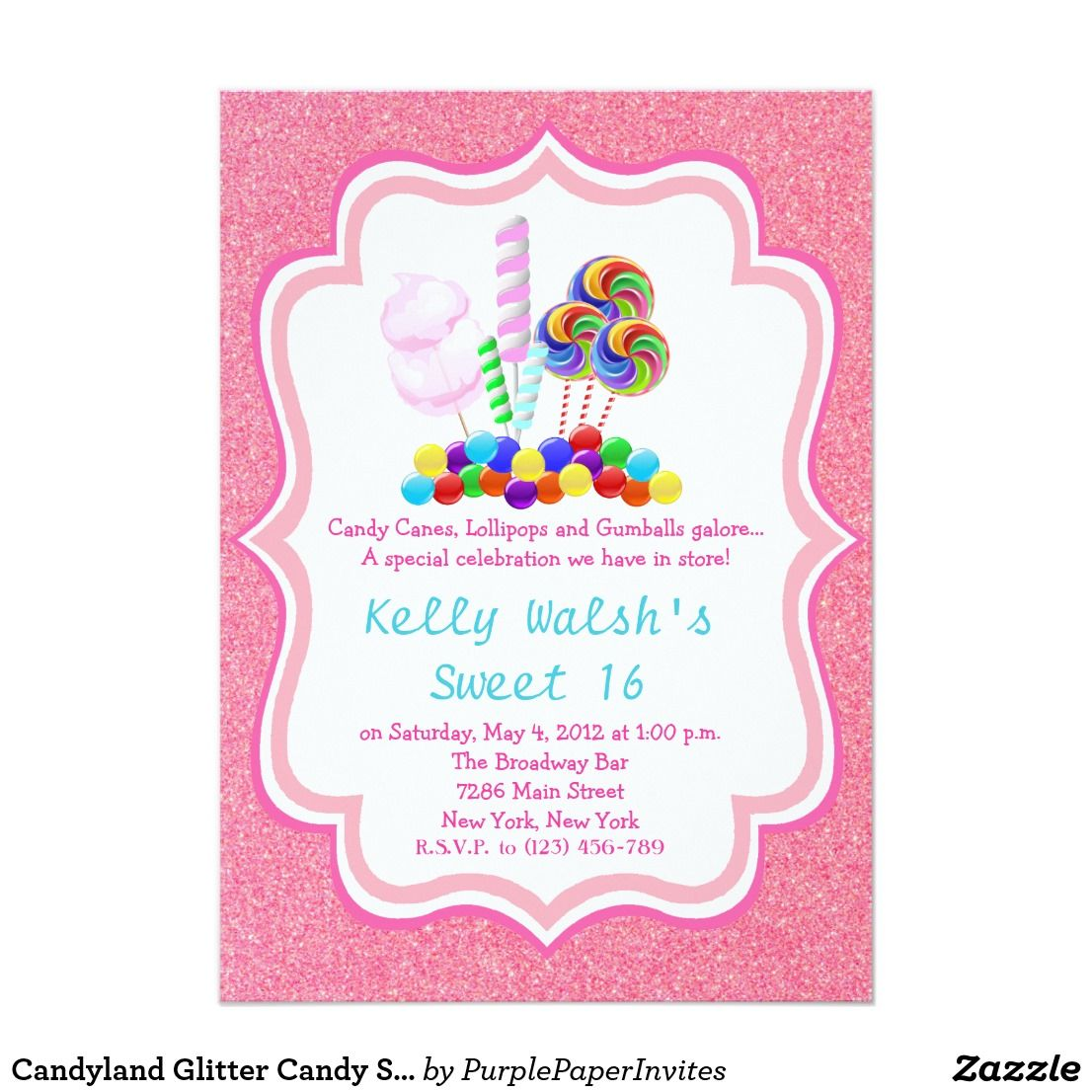 Candyland Glitter Candy Sweet 16 Invitation Candyland candy Theme ...
