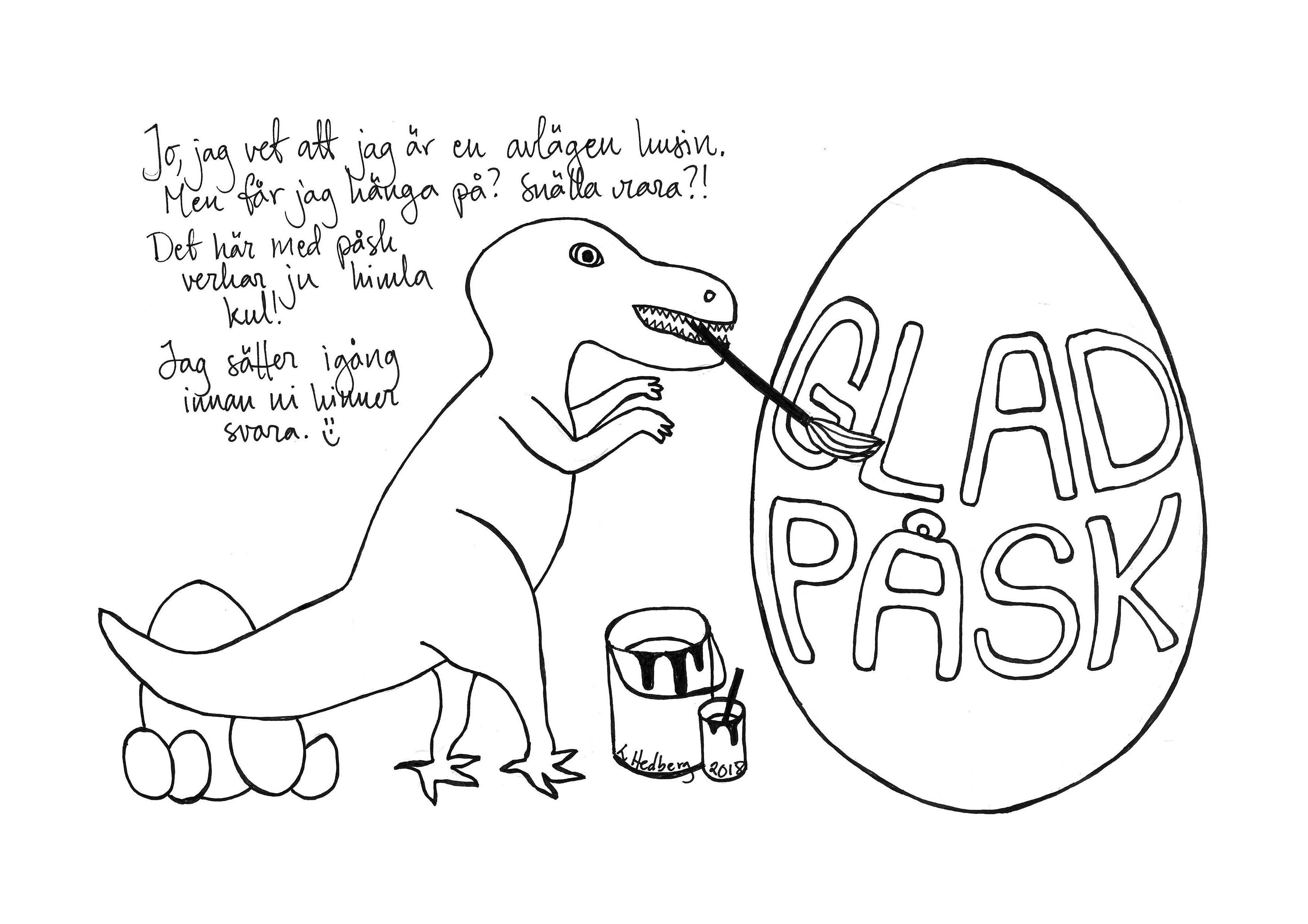 Glad Påsk Påskbrev Med Dinosaurie Att Skriva Ut Och Färglägga