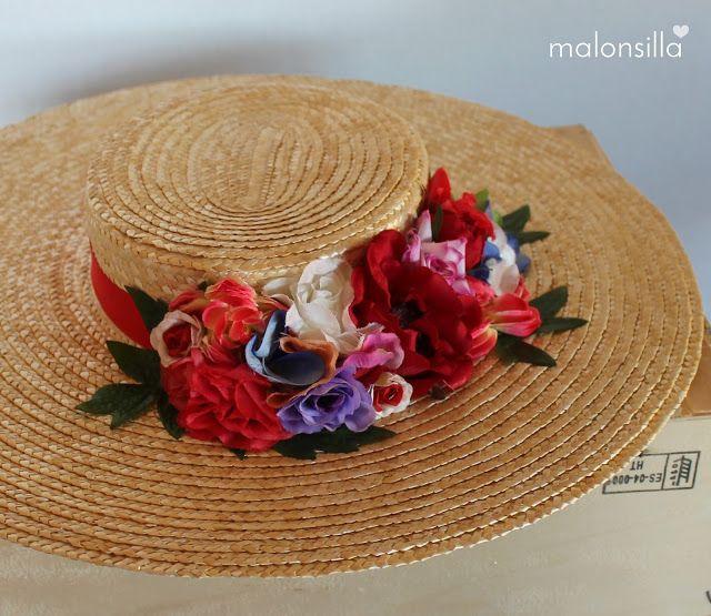 Pamela de rafia - paja RUBIELOS con flores en rojo ae35e8ba23a