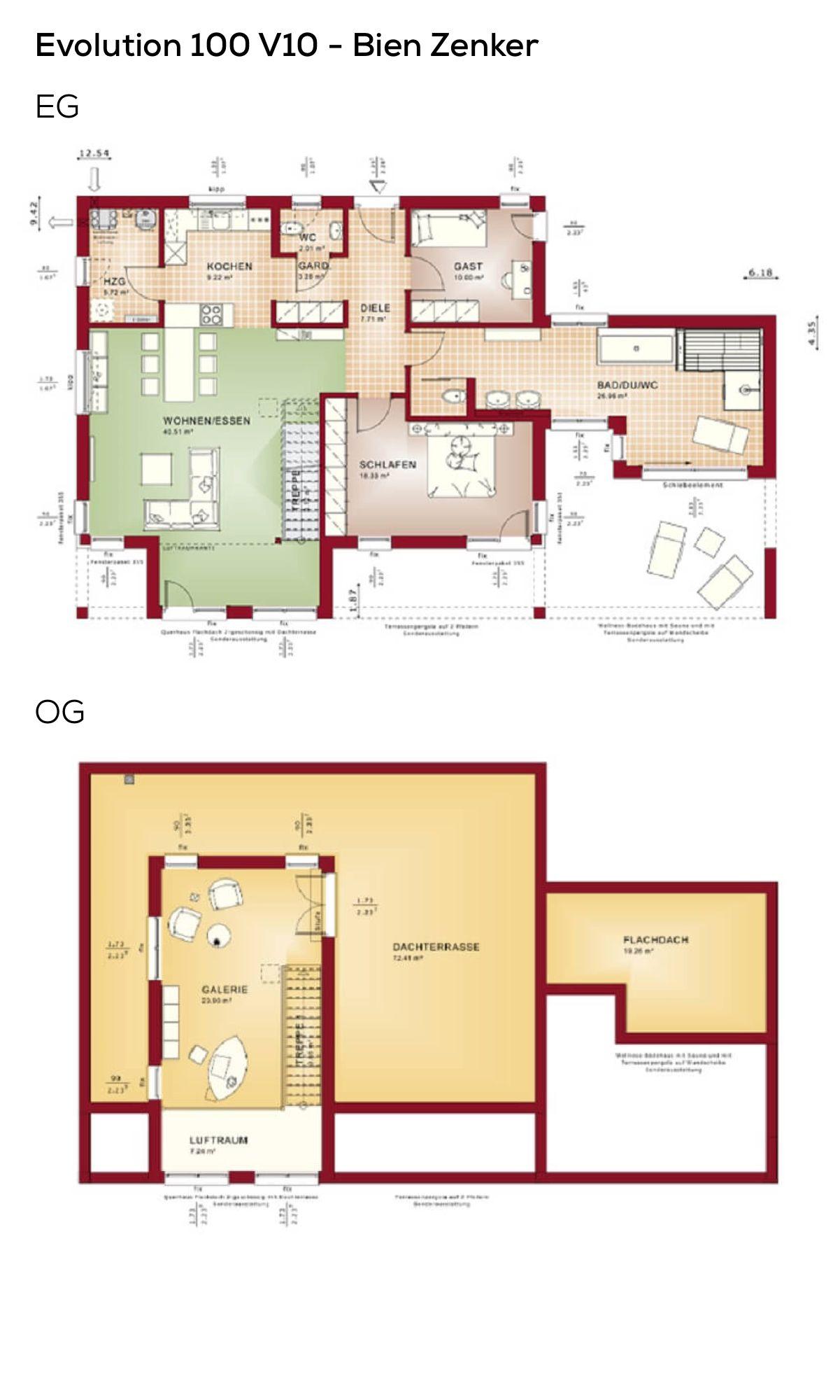 Grundriss Bauhaus-Bungalow Haus mit Galerie, Flachdach und ...