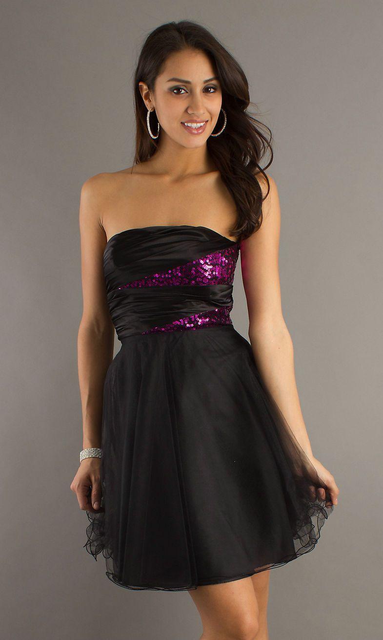 a line short strapless dresses