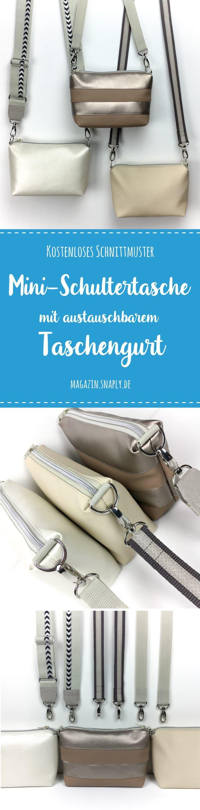 Kostenloses Schnittmuster: Handtasche mit austauschbarem Taschengurt #purses